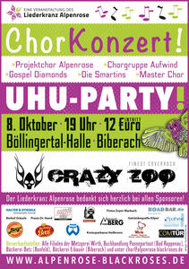 Chorkonzert mit UHU-Party und Crazy Zoo